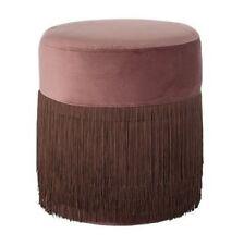 Bloomingville Pouf Grandma Pink 40 cm Fringe Pouf Stool Velvet Side Table
