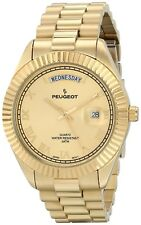 Peugeot 14K All Gold-Plated Day Date Roman Numeral Stainless Steel Watch - 1029G
