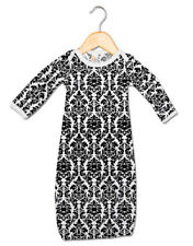 Baby Damask Gown Floral Black White Newborn Girl Coming Home Outfit, 0-3 Months