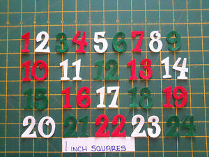 """1.5"""" Number Sets - Felt Iron On - Numbers 1 -24 -  Glitter Fun Font"""