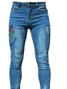 PHOENISING Women's Skinny Ripped Jeans • Size: 16 | Light Blue • RRP £17.50!