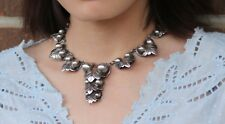 """Antique Old Mexico Barrera 925 Sterling Silver 14.5"""" Necklace , Orb & Leaf"""