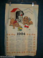 Vintage Calendar 1994 Puppies Playing Dog House B&D Quilt Craft Free USA Ship