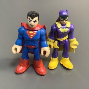 2PCS Fisher Price Imaginext  Super Friends Batgirl & Superman Heroes Figures