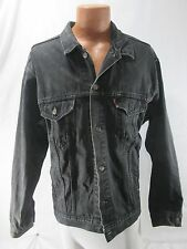 vtg Levi's Mens Denim Button Down Trucker Distressed Black Jean Jacket 2XL
