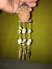 """New listing 🦉 8"""" Balsa Wood Owl? Wind Chime With Shells And Stones"""