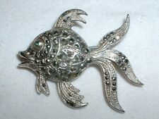 Vintage 1950s Corocraft ? Marcasite Fish Brooch - Very Good - NO RESERVE