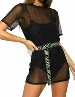 Womens Short Sleeve Mesh Bodycon Mini Dress Ladies Party Wear Tunic Dress Top