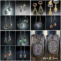 Women 925 Silver Ear Hook Turquoise Gemstone Dangle Drop Earrings Jewelry Lady