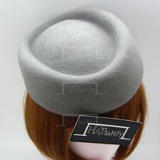 CLASSIC Wool Felt Ladies Pillbox Hat Women Fascinator Headpiece | Grey | Round