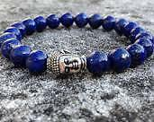 Lapis Lazuli Natural Stone Bracelet 8mm With Buddha Head +++AAA