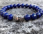 Lapis Lazuli Natural Stone Bracelet 8mm With Buddha Head +++AAA