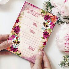 Skull Invitations, 8x Floral Skull Invites, Birthday, Party Invite, Halloween