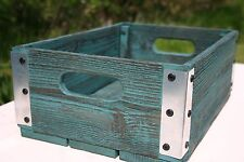 Handmade Reclaimed Wood Crate - Southwest Turquoise & Silver Metal - Storage Box