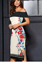 Kaleidoscope Black And White Floral Bardot Dress Size 12 New Worth £75