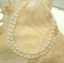"""4.5MM SINGLE-STRAND CULTURED FRESHWATER WHITE OVAL PEARL NECKLACE 18"""" YP #1"""