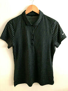 Nike Golf Dri-Fit Women's Medium Short Sleeve Black Gray Polo Shirt