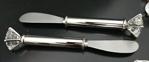 NEW 2 Piece Crystal Diamond Ring Shaped Serving Knives Lot - Quality Item