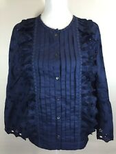 New J. Crew Tall Floral Eyelet Top In Navy G8664 Size 2T Ruffle Blouse Fall 2017