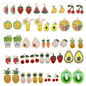 24pcs Mixedcolor Enamel Plated Assorted Fruit Series Pendant Charms DIY Findings