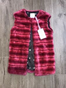 elsy girls Coat Faux Fur Pink Age 8 /10 Yrs size 36 RRP £125