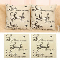 45*45 cm Live Laugh Love Quotes Cushion Cover Linen Case CL Pillow Throw Y4D2