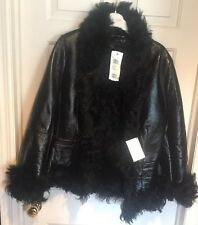 Escada Laurel Jeans Blk Leather Jacket Sz 40 R NWT Coat