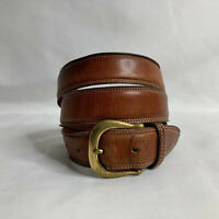 Coach Men's Belt British Tan English Bridle Leather Solid Brass Buckle Size 38