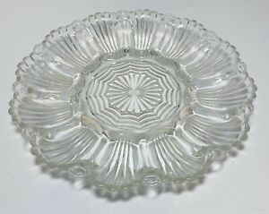 Anchor Hocking Oyster Plate Shell Star Pattern Clear Glass Deviled Egg Platter