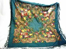 Large floral scarf peacock green roses & paisley wool fringed new with tags