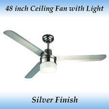 Stainless steel ceiling fans ebay sparky 48 inch 1200mm 3 blade silver stainless steel ceiling fan with light mozeypictures Images
