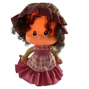 Linea Zero Bobblehead Doll Table Lamp Vintage 1970s Pink Check Dress Hat Girl