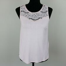 H&M Career/Office Wear Baby Pink Tank Top, Size Small, Lace Yoke Ladies Business