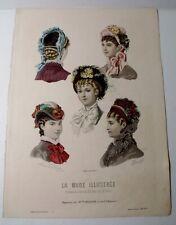 Antique La Mode Illustree Ladies Fashion Print HATS 1880 No.13