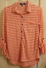 Almost Famous Size M Orange/Blue Button Down Blouse Stretchy 3/4 Sleeve