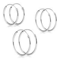 Sterling Silver Hoop Earrings in Various Sizes | 10mm - 60mm