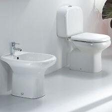 Sanitari monoblocco wc con cassetta completo di sedile e bidet in ceramica bagno