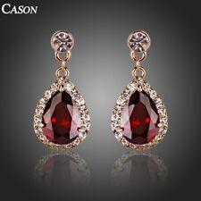 Fashion Rose Gold Red Cubic Zirconia Teardrop Earrings Jewelry Gift For Women