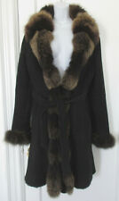 Belle Fare Lamb Sheepskin Shearling Fox Fur Collar Trim Black Suede Coat Sz M