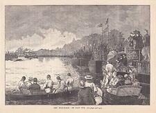 Universidad Boat Race. un fácil Win 1888 Viejo Antiguo Vintage Impresión Y.106