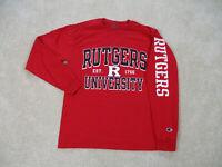 Champion Rutgers Scarlet Knights Shirt Adult Medium Red Football Long Sleeve Men
