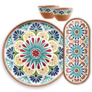 Epicurean Rio Medallion -4 Piece Plastic/Melamine Nibbles,Platter&Bowl Serve Set