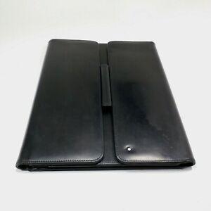 """Montblanc Meisterstück 12.5"""" Black Leather Notebook Pad Holder Folio Organizer"""
