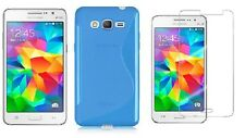 BLUE S-LINE TPU CASE + SCREEN PROTECTOR FOR CRICKET SAMSUNG GALAXY GRAND PRIME