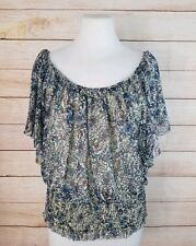 Blue Crush M Flutter Sleeve Smocked Waist Top w/ Layered Cami Blue Cream Floral