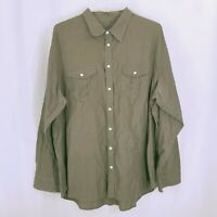 Old Navy Mens Olive Green Button Down Cotton Long Sleeve Shirt Size XXL