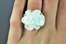 $4,500 Vintage Chanel 18K Yellow Gold White Agate Camelia Cocktail Ring Band 5