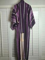 Vintage Kimono Traditonal Japanese Jacket Robe Geisha Purple Striped Lined