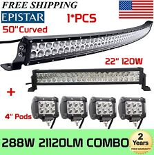 "50Inch Curved LED Light Bar + 22in + 4"" CREE Pods Offroad SUV ATV Ford Jeep 52"""