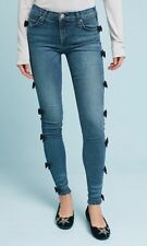 Anthropologie McGuire Newton Skinny Cropped Mid Rise Black Bow Jeans Size 32 New